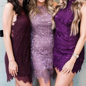 Lavender Above The Knee Lace Dress